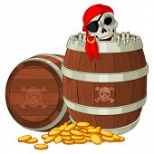 stock photo of skeleton  - Pirate skeleton gets out of the barrel - JPG
