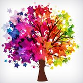 abstract background, tree with branches made of colorful stars.