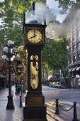 Steam Clock At Gastown Vancouver In The Morning