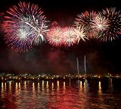 fireworks reflect on sea water