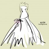 art sketch of beautiful young  bride in white dress and with the bride's bouquet.. Vector background