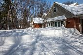 North America Residential House Yard Covered with Deep Snow in Winter