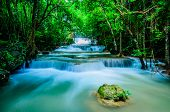 picture of deep blue  - Huay Mae Khamin Paradise Waterfall located in deep forest of Thailand. Huay Mae Khamin - Waterfall is so beautiful of waterfall in Thailand Huay Mae Khamin National Park Kanchanaburi Thailand.