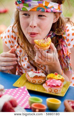 Happy Eating Cupcake Girl