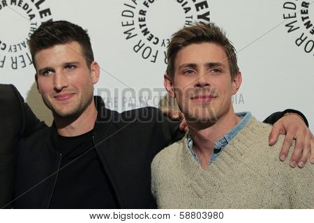 LOS ANGELES - JAN 7:  Parker Young, Chad Lowell at the FOX's 'Enlisted' Premiere at The Paley Center For Media on January 7, 2014 in Beverly Hills, CA