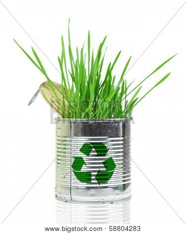 Can with recycle sign and growing grass isolated