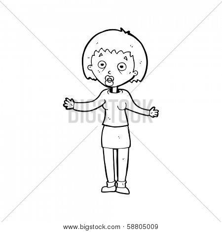 cartoon woman making excuses
