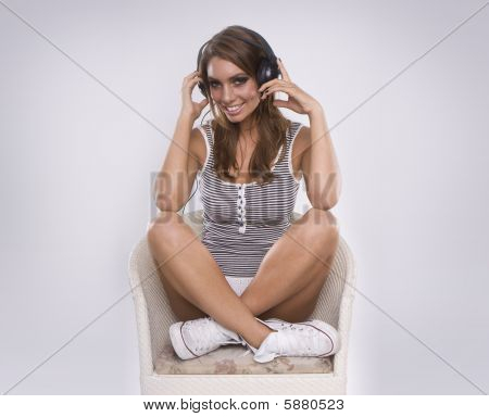 Beautiful Woman Dj Wearing Retro Headphones