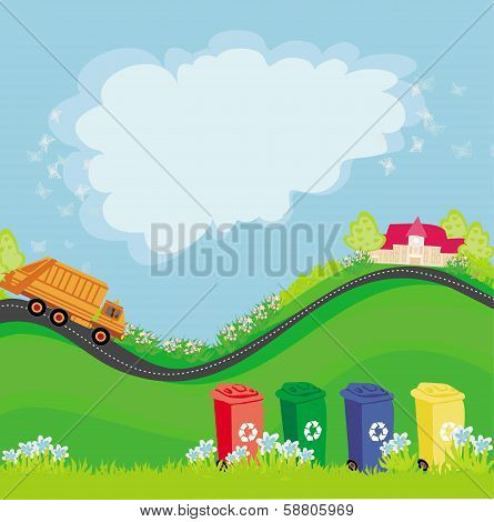 Segregation Of Garbage, Abstract Card With The Ecological Landscape