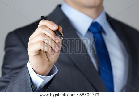 Business Man Writing Something On Glass Board