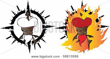 heart shaped by hanged and fire burned on a white background