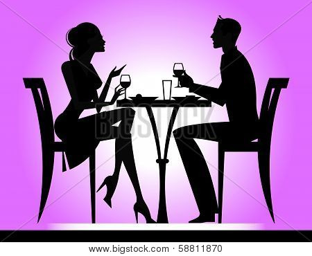 Couple Dining Silhouette