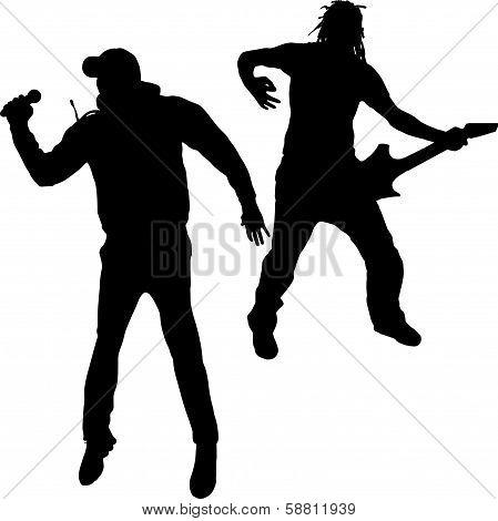 Black vector silhouette men.