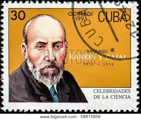 CUBA - CIRCA 1993: a postage stamp printed in Cuba showing an image of Santiago Ramon y Cajal, circa 1993.