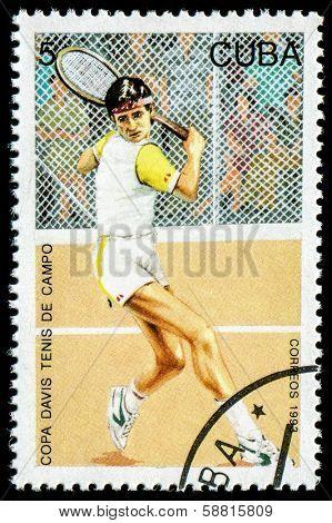 CUBA - CIRCA 1993: A stamp printed in Cuba shows an Davis Cup (tennis), circa 1993