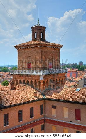 The Este Castle of Ferrara. Emilia-Romagna. Italy.