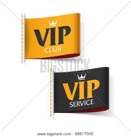 VIP service and VIP club labels. Vector.