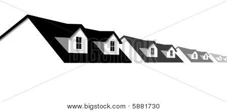 Home Symbol Row Houses Border With Dormer Roof Windows