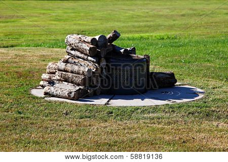 Outdoor Fire place in grass with wood