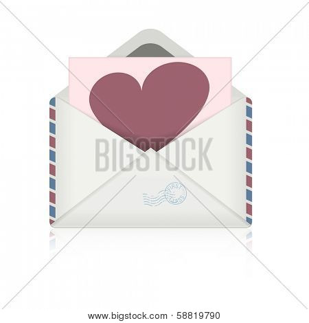 detailed illustration of an open envelope with heart-Symbol, eps10 vector