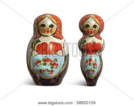 3D render of two matryoshka dolls slim and fat isolated on white