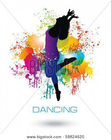 Dancing Woman. Colorful dancing concept 1.