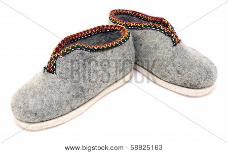 Handmade Embroidered Grey Felt Slippers