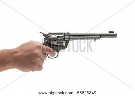 Men hand with revolver pistol isolated on a white background