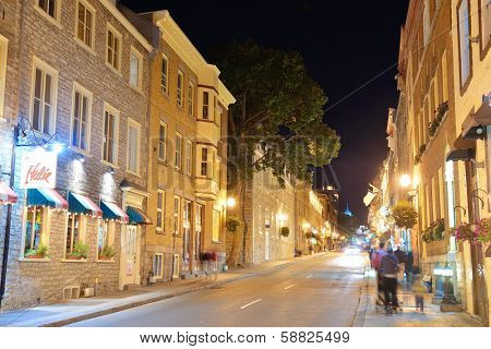 QUEBEC CITY, CANADA - SEP 10: Old street at night on September 10, 2012 in Quebec City, Canada. As the capital of the Canadian province of Quebec, it is one of the oldest cities in North America.