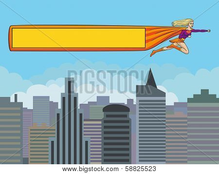 Superhero girl with banner over the city.