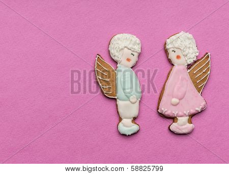 Cookies  couple of angels on Valentine's day
