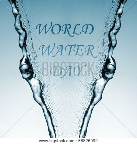 sentence world water day, celebrated every 22 March, on a water jet