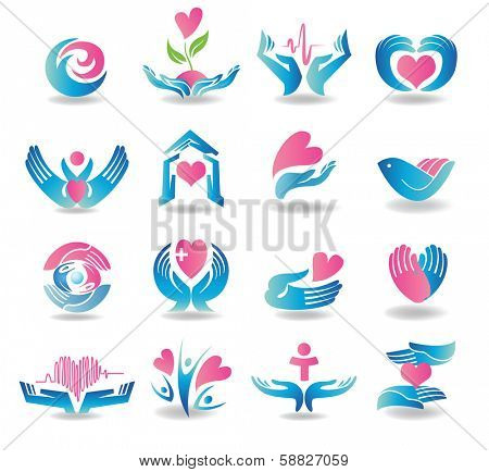 Various colorful health care cardiology icons.