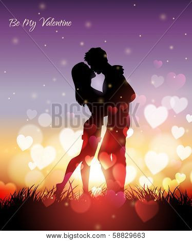 Vector illustration of a couple kissing at sunset