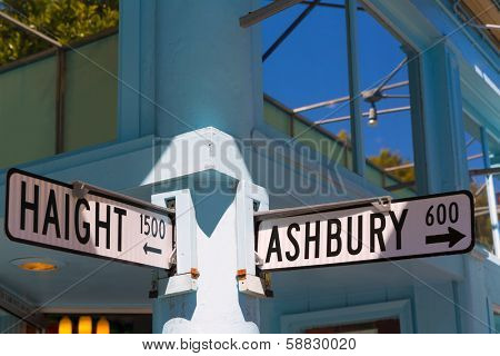 San Francisco Haight Ashbury street sign junction corner in California USA