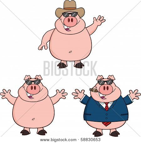 Pig Cartoon Characters 2. Collection Set