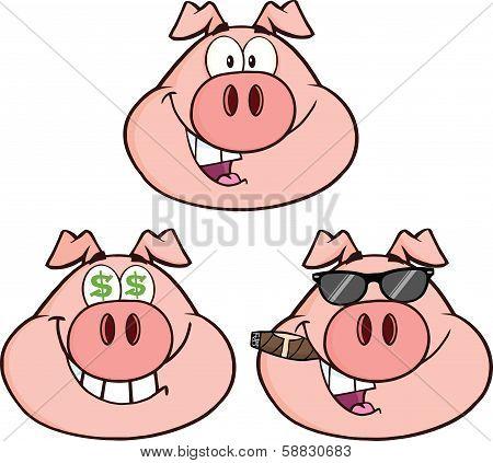 Pig Head Cartoon Characters