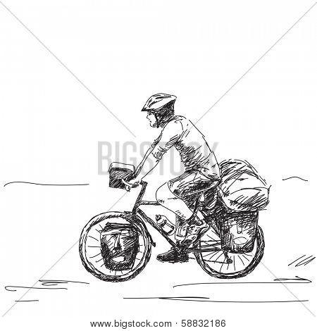 Hand drawn tourist long distance cyclist