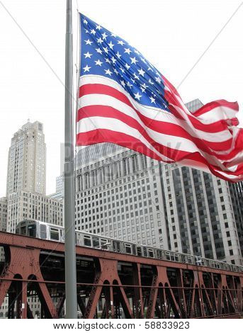 Chicago City Train and U.S flag traveling downtown