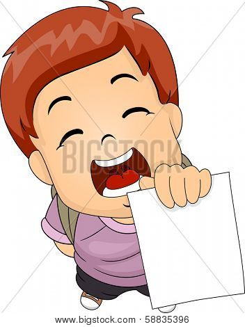 Illustration of a Boy Proudly Showing His Test Result