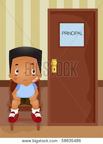 Illustration of a Boy Waiiting for His Turn to be Called in the Principal's Office