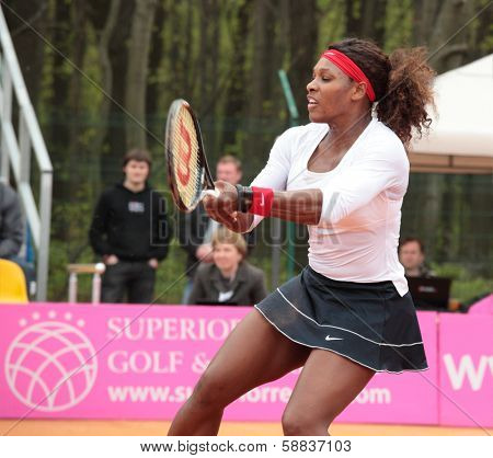 KHARKOV, UKRAINE - APRIL 22, 2012: Serena Williams in the match with Lesia Tsurenko during Fed Cup tie between USA and Ukraine in Superior Golf and Spa Resort, Kharkov, Ukraine