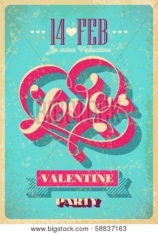 Vintage Valentine poster. Vector illustration.