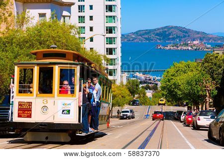 SAN FRANCISCO - APRIL 20, 2031: Cable car of Powell Hyde line, cable-car since 1873 are the world's last manually operated car system and are the icon of San Francisco, California on April 20, 2013.