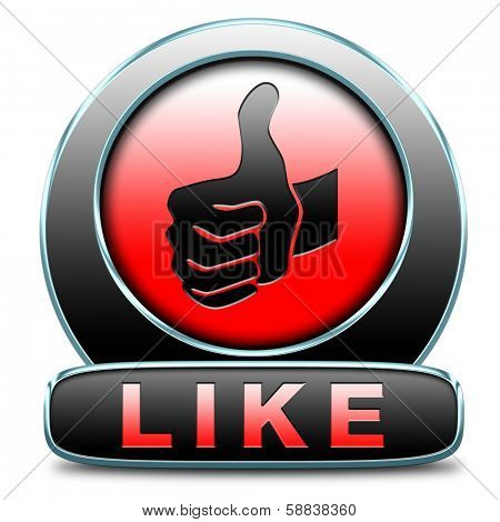 like and follow us thumbs up icon or button