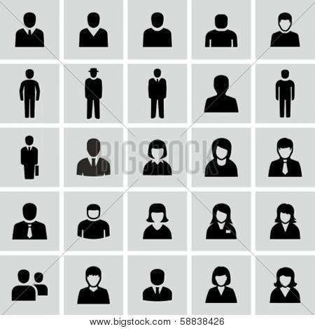 Vector black and white people icons