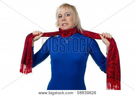 Girl Strangling Herself With Scarf