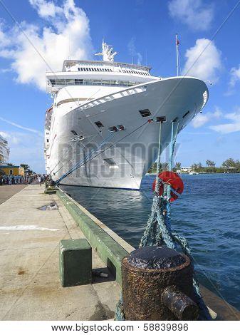 cruise ship docked at nassau, bahamas