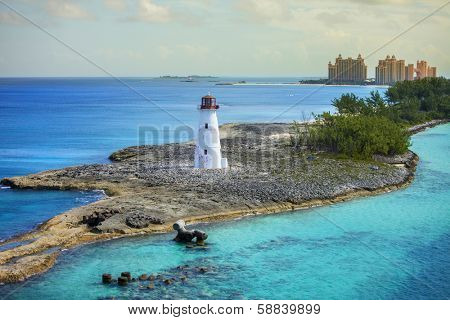 harbor entrance at nassau, bahamas, and lighthouse