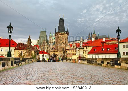 old Prague, famous Charles bridge